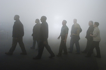 A shot from the movie THE MIST in which some people try to get through the fog