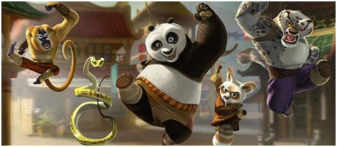 Some of the main cast of Kung Fu Panda (Copyright Dreamworks)